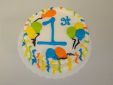 1st Birthday Cake Piped Balloons