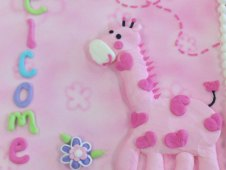 Pink Giraffe with Butterflies and Flowers Piped