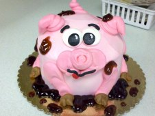 Pig Theme Birthday Cake