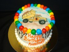 Dump Truck Theme Birthday Cake